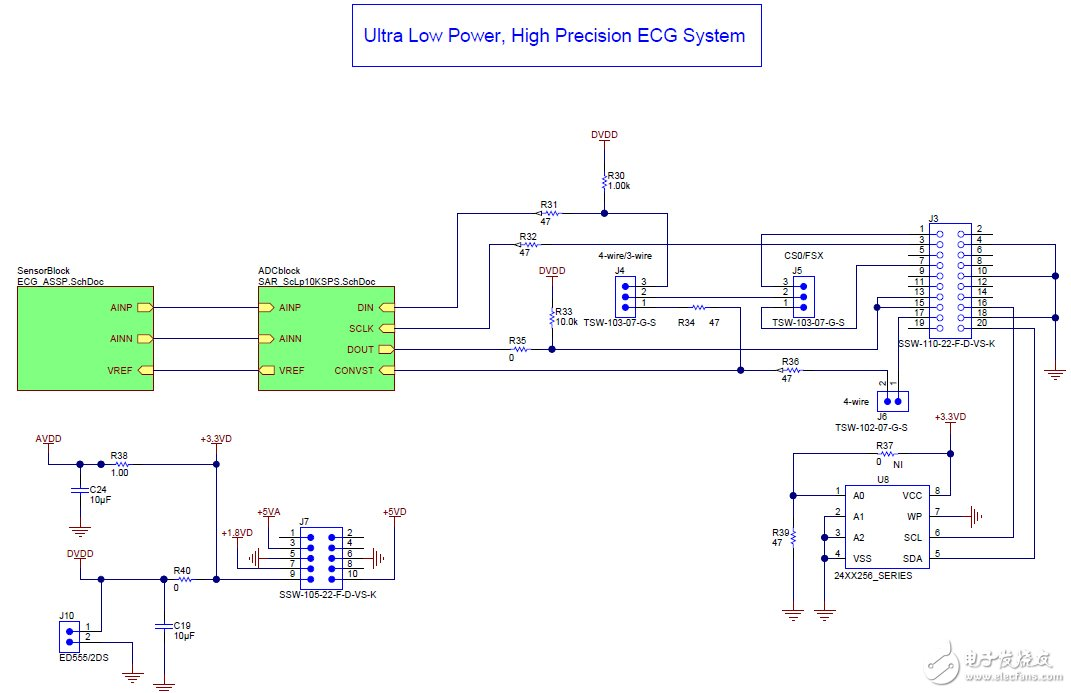 Data acquisition module implemented by discrete lead I ECG (for ECG system)