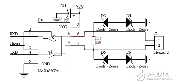 Typical circuit diagram of photoelectric isolation RS485