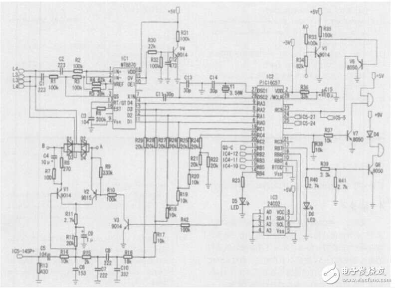 Circuit design diagram of a smart home security system