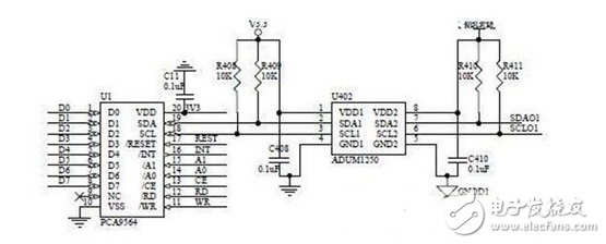 Electronic circuit design of I2C and serial communication module