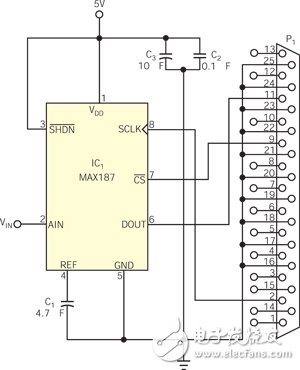 Design of interface circuit between 12 bit serial ADC and PC