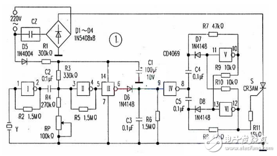 Manufacture of CD4069 voice control power socket