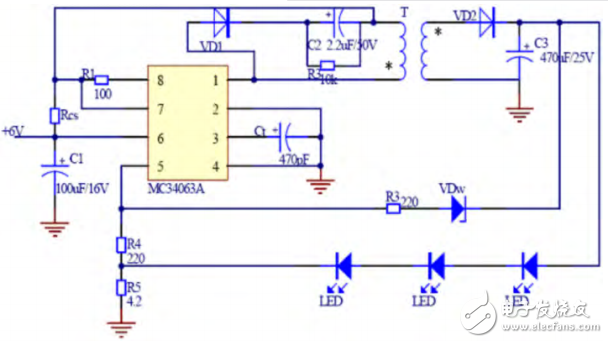 Design of constant current driving circuit for LED based on mc34063a