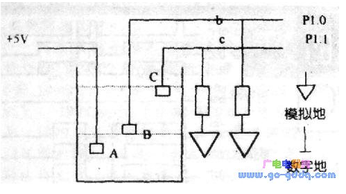 Hardware circuit design of water level control in 8051 single chip microcomputer water supply system