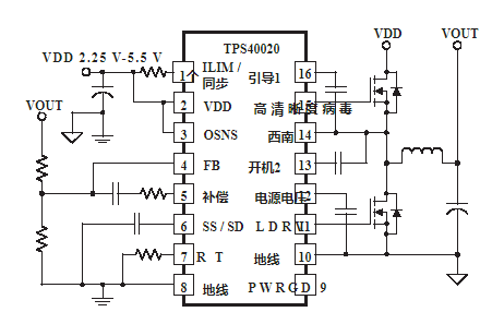 Performance characteristics and application of synchronous DC / DC Buck Controller tps40020 / 21