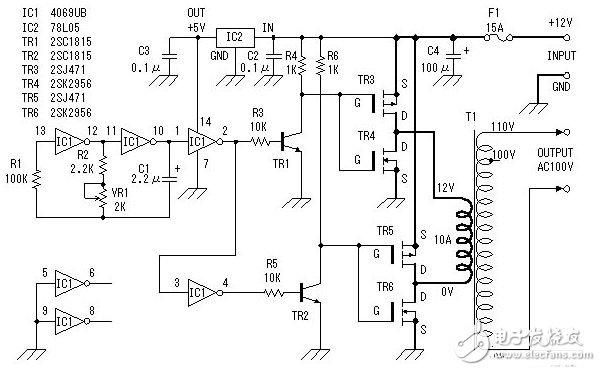 Simple circuit diagram of DC to AC converter - Electronic ...